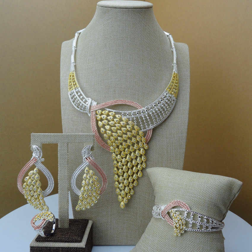 Yuminglai Dubai Gold  Jewellery African Jewelry Sets for Women FHK6394