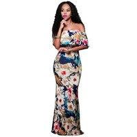 Nowy 2017 Kobiety Odzież Afrykańskiego Falbany Slash Neck Kim Kardashian Sukienka Hippie Długa Szata Sexy Odzież Sklep On-Line Suknia Fiesta
