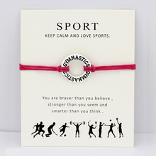 Gymnastics Gym Card Bracelets Sports Antique Silver Charm Jewelry Hot Pink Red Wax Cord Women Girl Boy Men Gift Drop Shipping