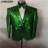 Male Green Sequins Slim Outcoat Singer Dancer Host Master Of Ceremonies Show Party Nightclub KTV