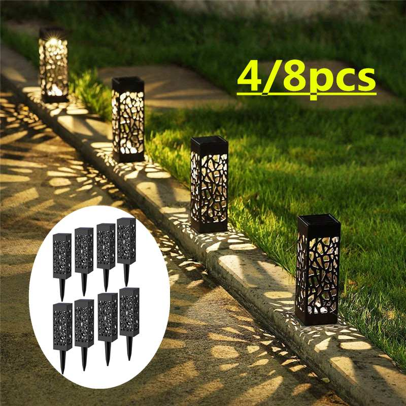 2/4/8 Piece LED Solar Garden Lights Lawn Light Lamps Flames Landscape Torch Light for Outdoor Patio Yard Waterproof Warm White