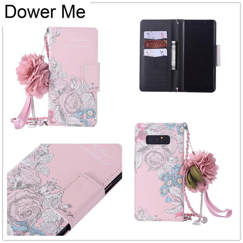 Dower Me Retro Rose Cloth Flower Flip Wallet Handbag Leather Chain Case Cover For Samsung font