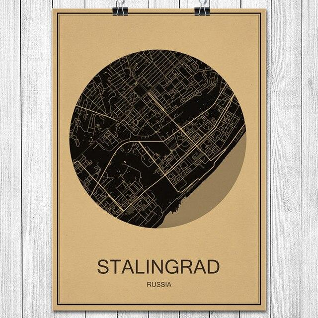 Hot Sale STALINGRAD World City map Vintage poster Retro Art painting ...