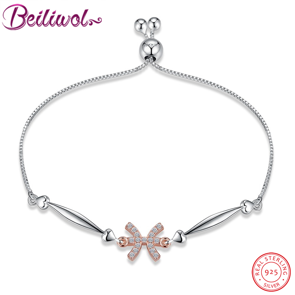 Beiliwol Authentic 100% 925 Sterling Silver Bracelets for Women Adjustable CZ Fashion 12 Constellations Pisces Fine Jewelry