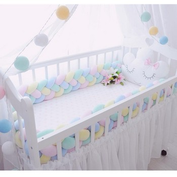 300CM length baby crib Protector knot  Baby Bed Bumper Weaving Plush Baby Crib cushion For Newborns four tied rope bed bumper