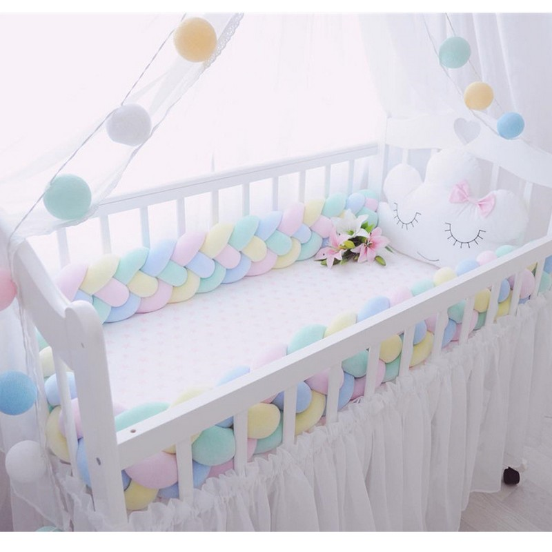 300 см Длина Детские кроватки протектор узел Детская кровать бампер ткачество плюшевые детские кроватки Подушка для новорожденных четыре св...