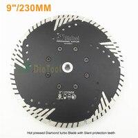 Diameter 9 Diamond Disc For Granite Concrete Masonry M14 230MM Hot Pressed Diamond Turbo Blade With