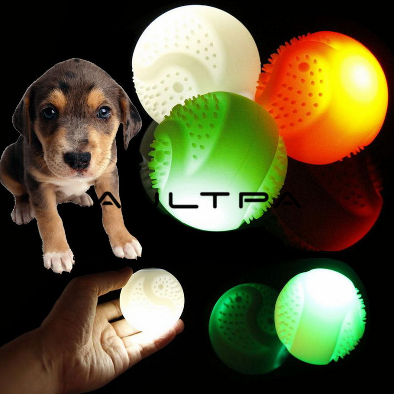 7cm Pet Dog Toys Colorful Led Luminous Rubber Elastic Teeth Bite Rubber Dog Cat Play Ball Products Interactive Toys Pet