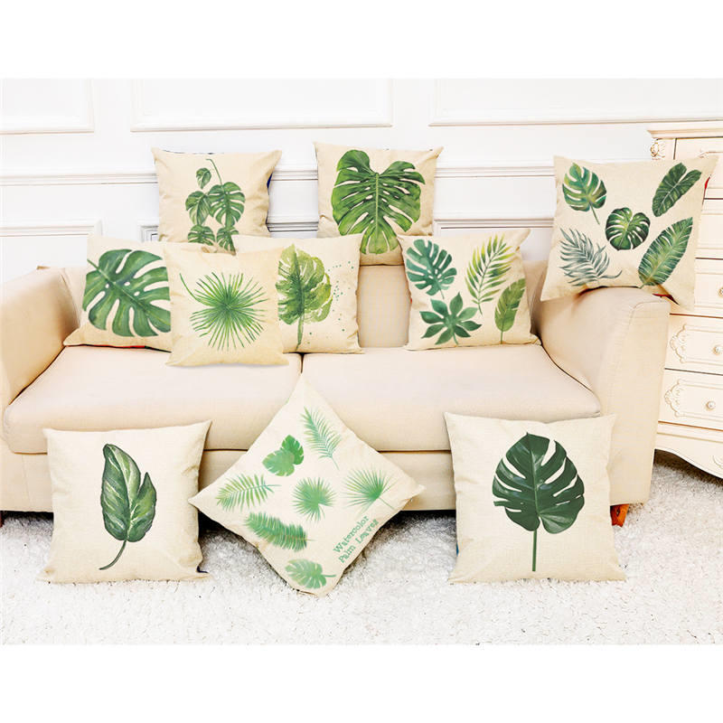 45cm*45cm Cushion Cover Large foliage of a single tropical plant linen/cotton pillow cas ...