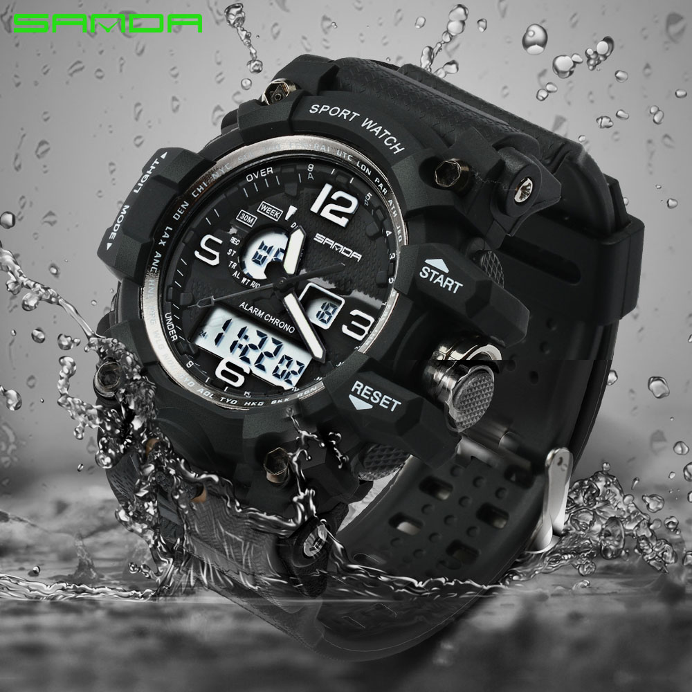 SANDA Brand Waterproof Fashion Watch Men Sport Analog Quartz-Watch Military LED Digital Electronic Watches relogio masculino weide popular brand new fashion digital led watch men waterproof sport watches man white dial stainless steel relogio masculino