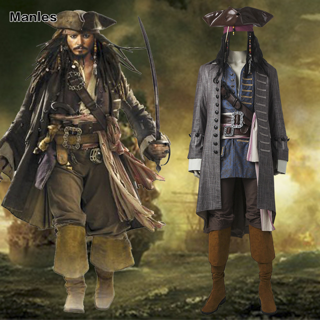 pirates of the caribbean captain jack sparrow cosplay costume halloween costumes for adult men sparrow costume - Jack Sparrow Halloween Costumes