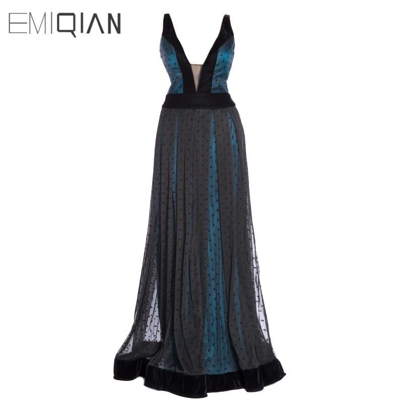 Nouveau débardeur col en V Turquoise doublure point noir Tulle robes de soirée