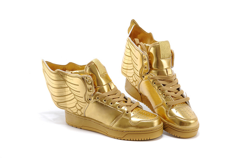 adidas gold sneakers with wings