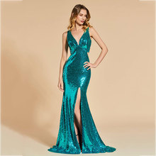 Tanpell sequins evening dress v neck sleeveless women formal floor length mermaid reflective plus custom