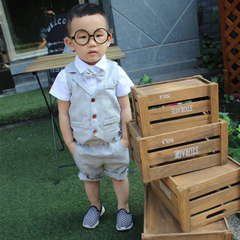 цена на Kids Formal Suits for Baby Boys Suits Blazers Summer Autumn Single Breasted Short Wedding Wear 3pcs Sets Child Costume Clothing