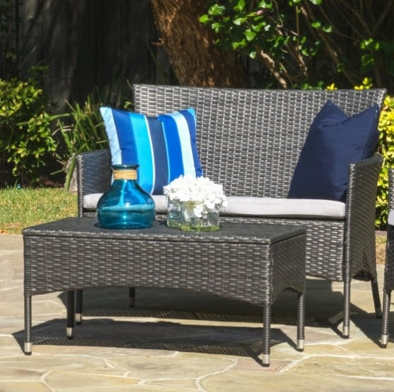 Nueva llegada bonito sofá de jardín y sofá de ratán negro para la venta