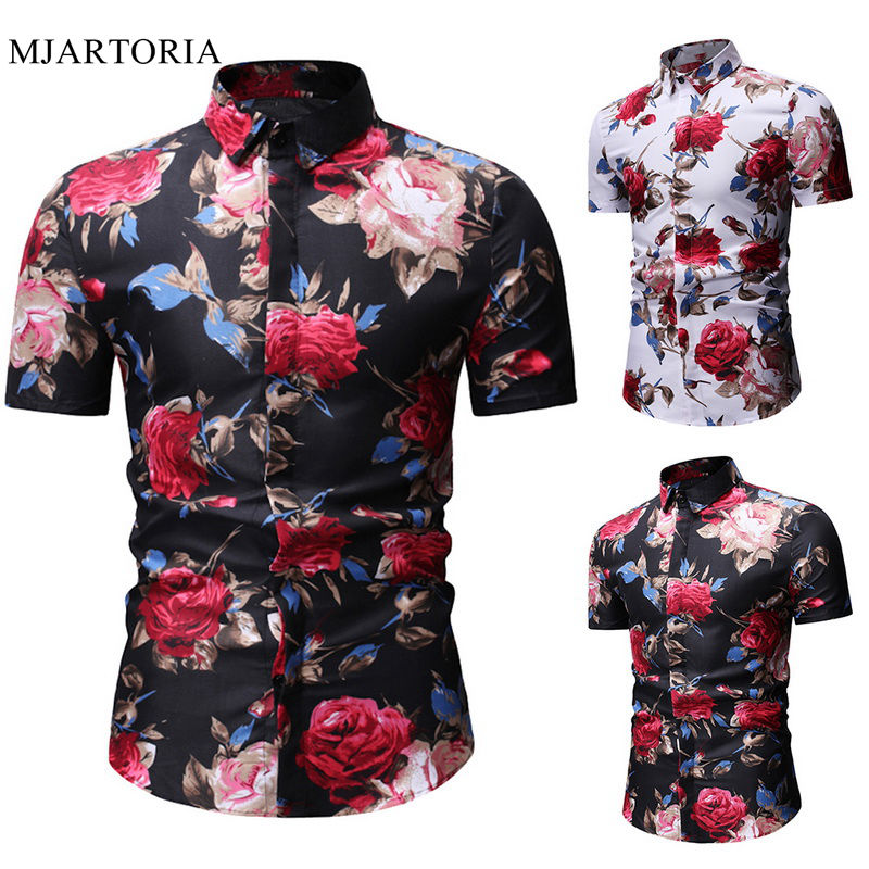 Flower Shirt Men Classic Mens Floral Hawaiian Shirt Summer Short Sleeve Slim Fit Flower Printed Beach Shirts Mens Clothing