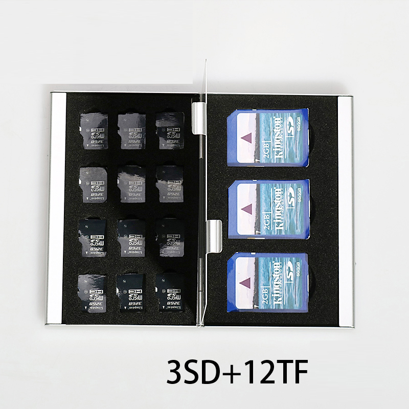 15 In 1 Aluminum Storage Box Bag Memory Card Case Holder Wallet Large Capacity For 3* SD Card 12*Mirco SD