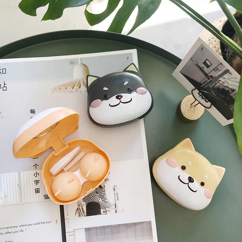 Leuke Cartoon Contact Lens Case Houder Hard Contact Lens Case Set Met Spiegel Reizen Lenzen Box Container Spektakel Gevallen