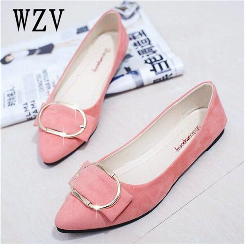 где купить Plus size 35-41 New Women Suede Flats Fashion Woman Loafers Pointy Toe Ballerina Flat Casual Shoes Women Zapatos Mujer E059 дешево