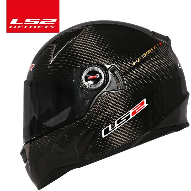 100% d'origine LS2 FF396 casque de moto en fiber de carbone à double visière airbags pompe casque moto LS2 intégral noir visière casque