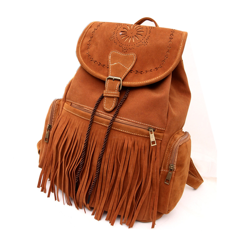2015 Autumn & Winter Ladies Brown Fringed Backpack Pu Leather Casual Vintage String Drawstring Bag  Tassel Laptop Soft Backpack