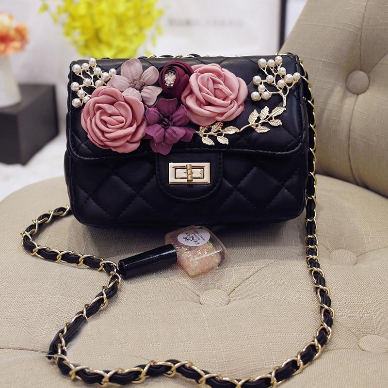 New 2017 Fashion font b Women s b font Chiffon Flower Rhinestone Pearl Chain Handbag Bride