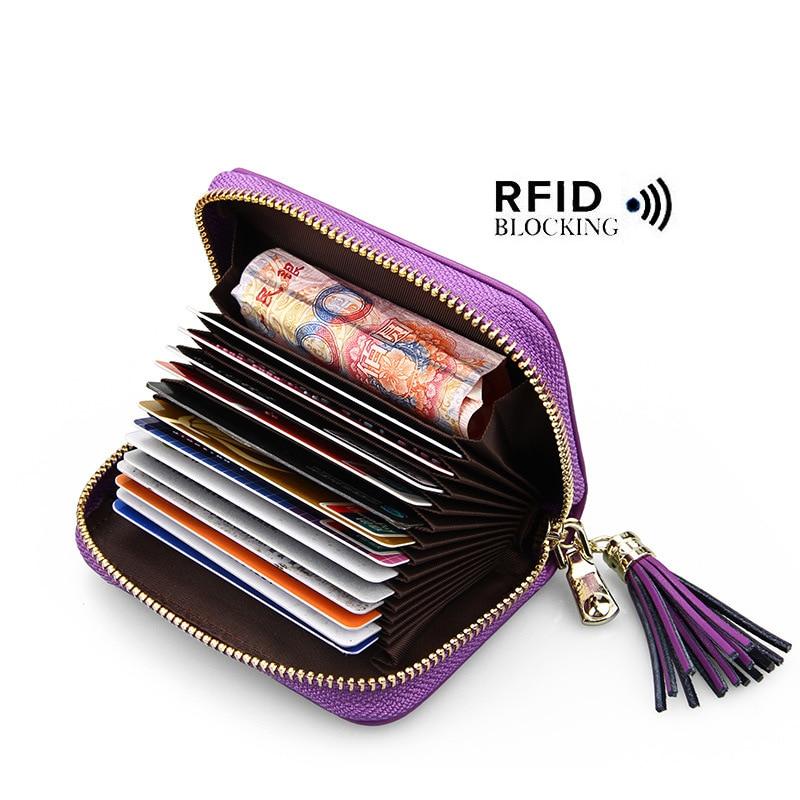 2018 Fashion Tassel Card Bag Leather Credit card holder women's card tassel RFID Cardholder through 15 Card slot 7 color optiona visualpower 7 0 subtitles card mt20pro