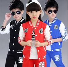 Children's Sports Suit Contracted Boys Sweater Coat Spring And Autumn Ensemble Fille Two-piece Girls Baseball Clothing Set