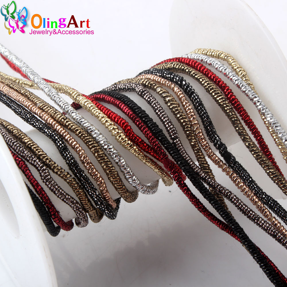 OLINGART 5M/lot 2.0mm Outer Winding Colorful Metal Wire Cotton Thread Freely Styling Necklace/brooch DIY Handmade Jewelry Making