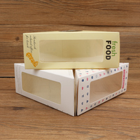 Joy Kraft paper Window Sandwiches Packaging Boxes,retro Bakery Cake Bread Boxes and packaging 100PCS