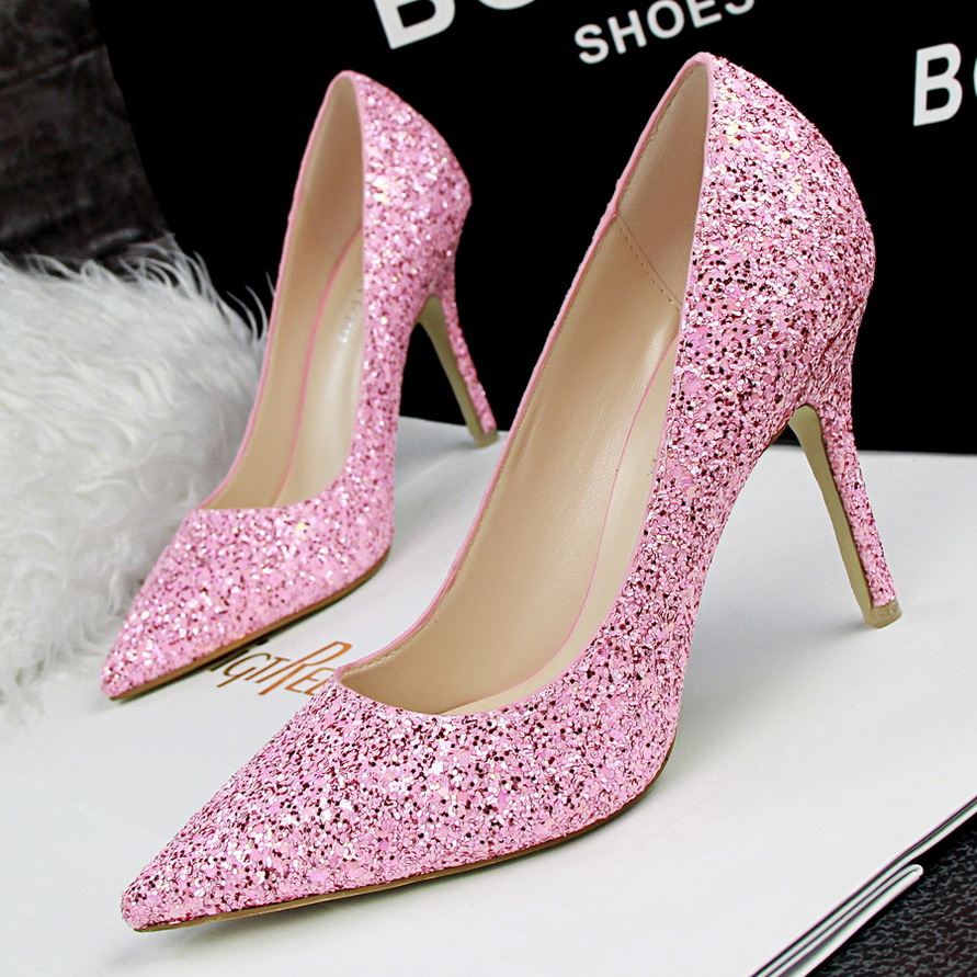 Ladies Glitter Sparkly Bling Wedding Shoes Women Point Toe 9cm ...