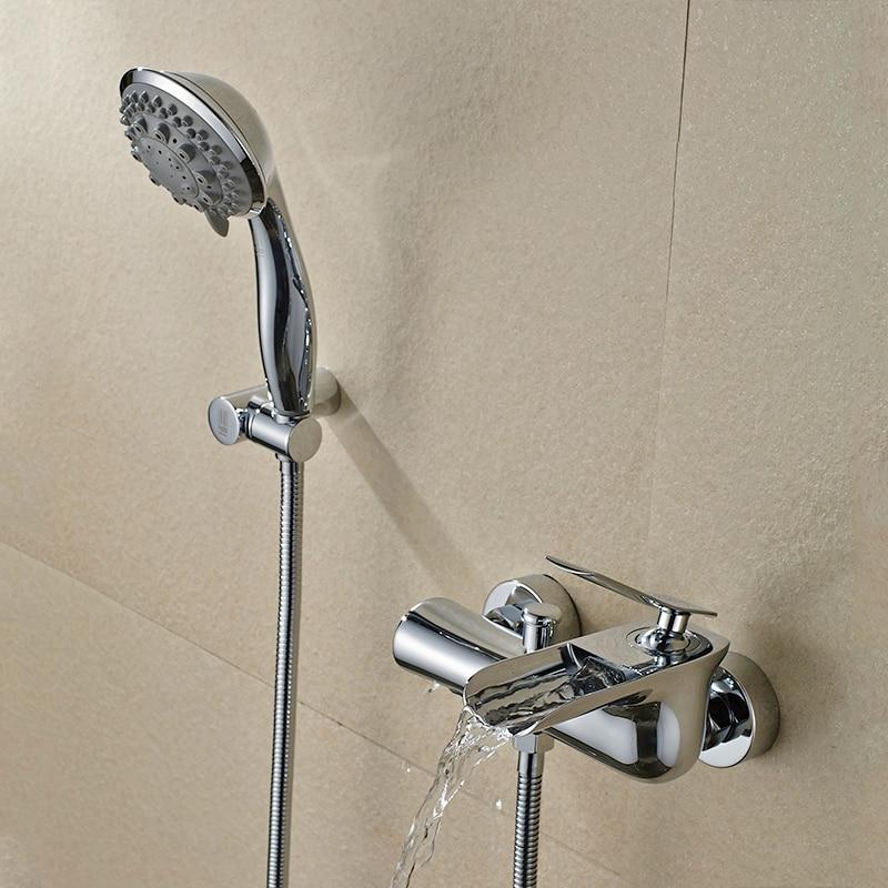 Bathtub Faucets Chrome Wa Brass Shower Set Bathtub Mixer Tap Single Handle Dual Contral Shower Wall Mounted For Bathroom WF-6018Bathtub Faucets Chrome Wa Brass Shower Set Bathtub Mixer Tap Single Handle Dual Contral Shower Wall Mounted For Bathroom WF-6018