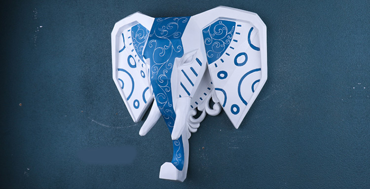 Ealisen Wall Mounted Blue And White Elephant Head Trophy Wall Art