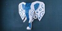 Montaż ścienny niebieski i biały słoń głowy wall art tablica trofeum rzeźby-faux ornamnent taxidermy nowoczesne wiszące wystrój domu