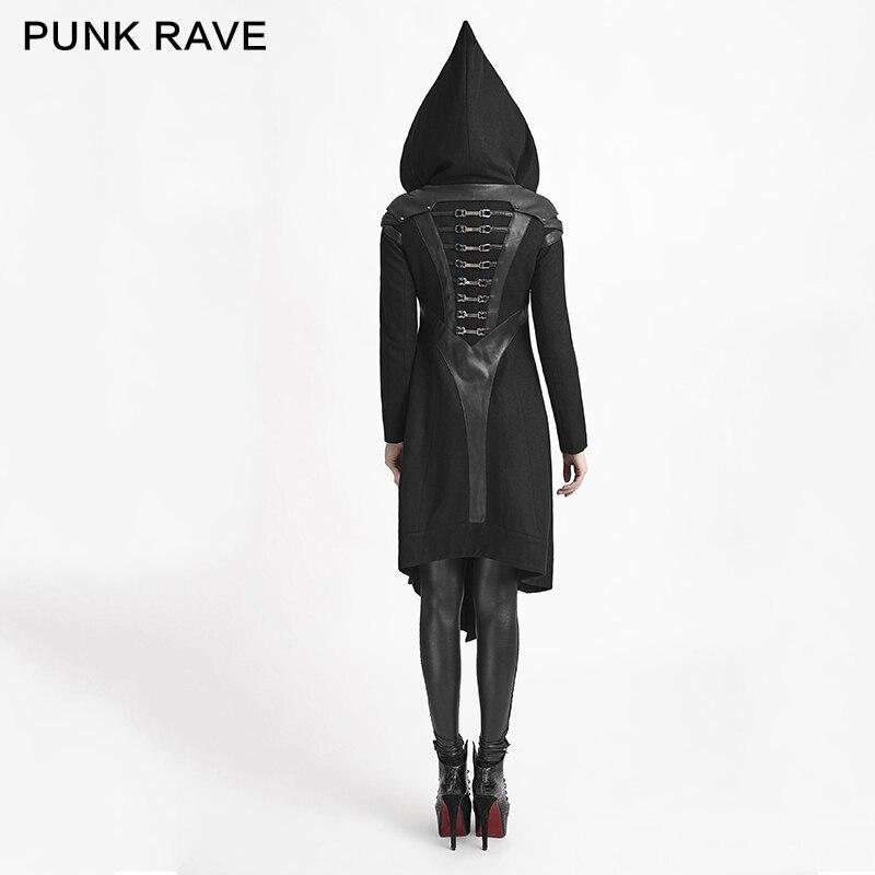 Femmes Longue Rave Capuche Veste Cosplay Woolem Pull Steampunk Manteau Sorcière Gothique Noir À Punk S5cAf1pc