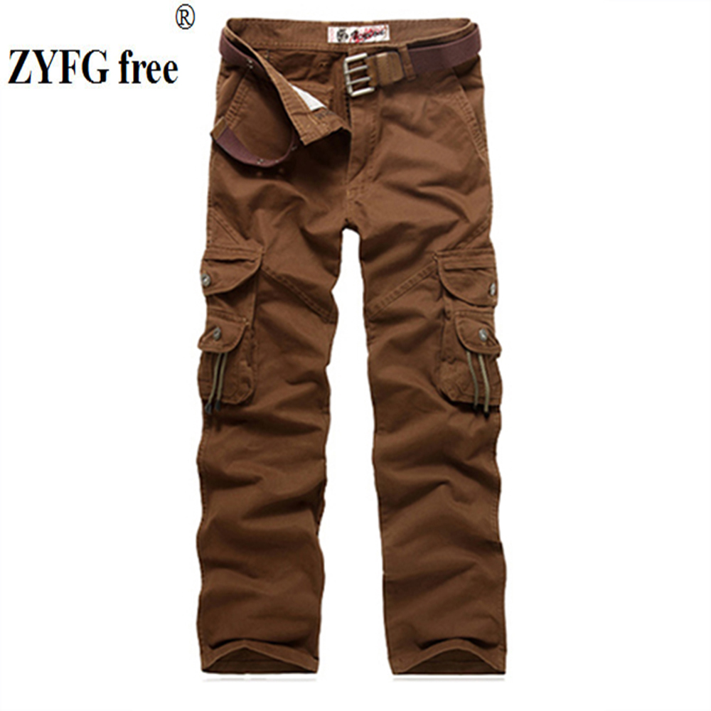 ZYFG free men trousers casual middle waist solid color overalls pants multi-pocket decorative sweatpants