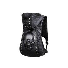 Stilvolle Mit Kapuze Leder 3D männer Rucksack Nieten Schädel Tasche mit Kapuze Mütze Punk Gothic Rucksack für Männer Teenages