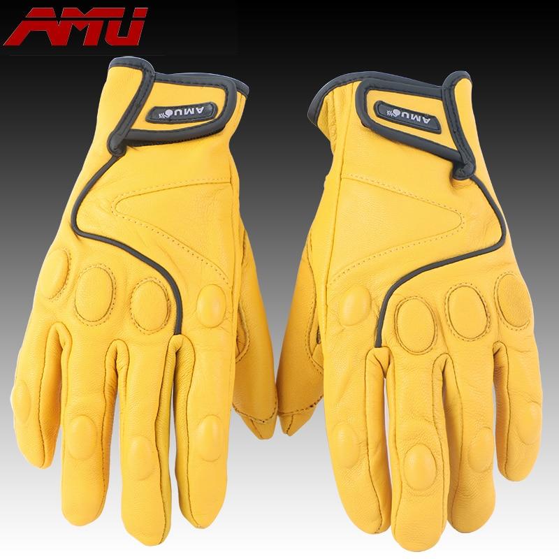 AMU Knight mănuși de protecție din piele de oaie, Motocicletă Motocicletă moto Curse de ciclism Mănuși din piele femeie bărbat G78