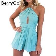 BerryGo Элегантный выдалбливают комбинезон женские комбинезон Сексуальный спинки пояса комбинезоны Лето голубовато-зеленый пляжная вечеринка комбинезоны