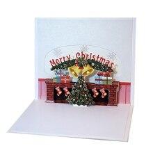 Счастливого Рождества 3D всплывающий камин Рождество карты рождественская ель подарок зима поздравительная открытка для праздничных приглашений