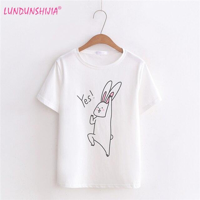 LUNDUNSHIJIA 2018 New Arrival Summer Women T-Shirts O-Neck Harajuku Soft  Tee Rabbit Printed Tops Fashion Female T-shirt 6dbc8ef60d4c