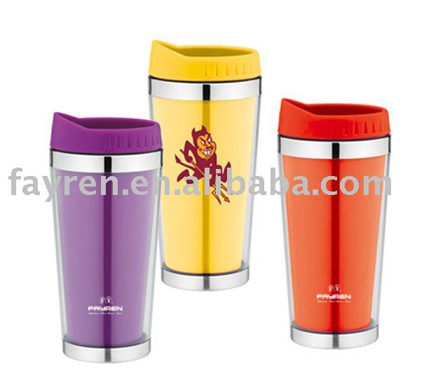 outer plastic and inner stainless steel water cups