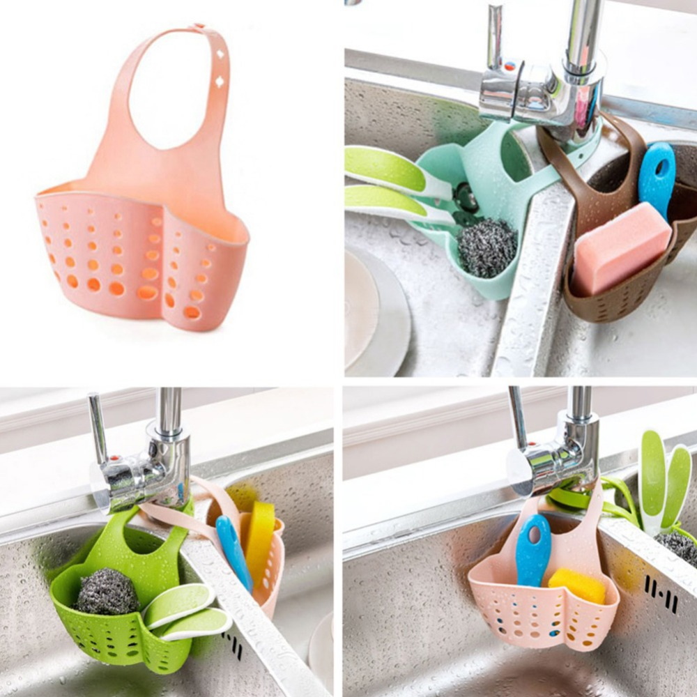 4 Colors Kitchen Bathroom Sink Sponge Hanging PVC Shelving Rack Drain Faucet Storage Pail Shelves