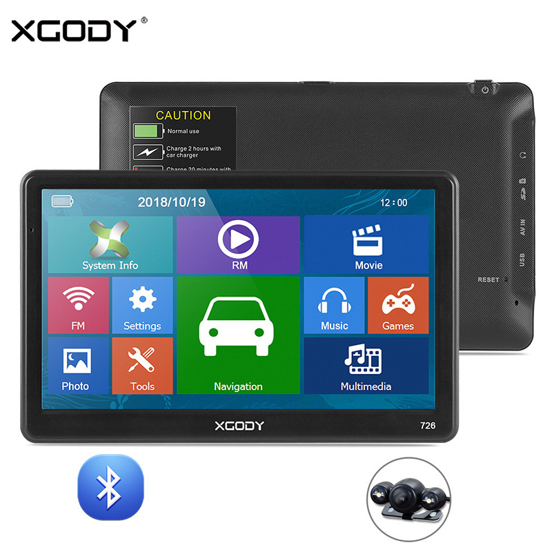 XGODY Capacitive-Screen Navigation GPS Vehicle-Truck Sat Nav Bluetooth 7inch 8GB FM HD