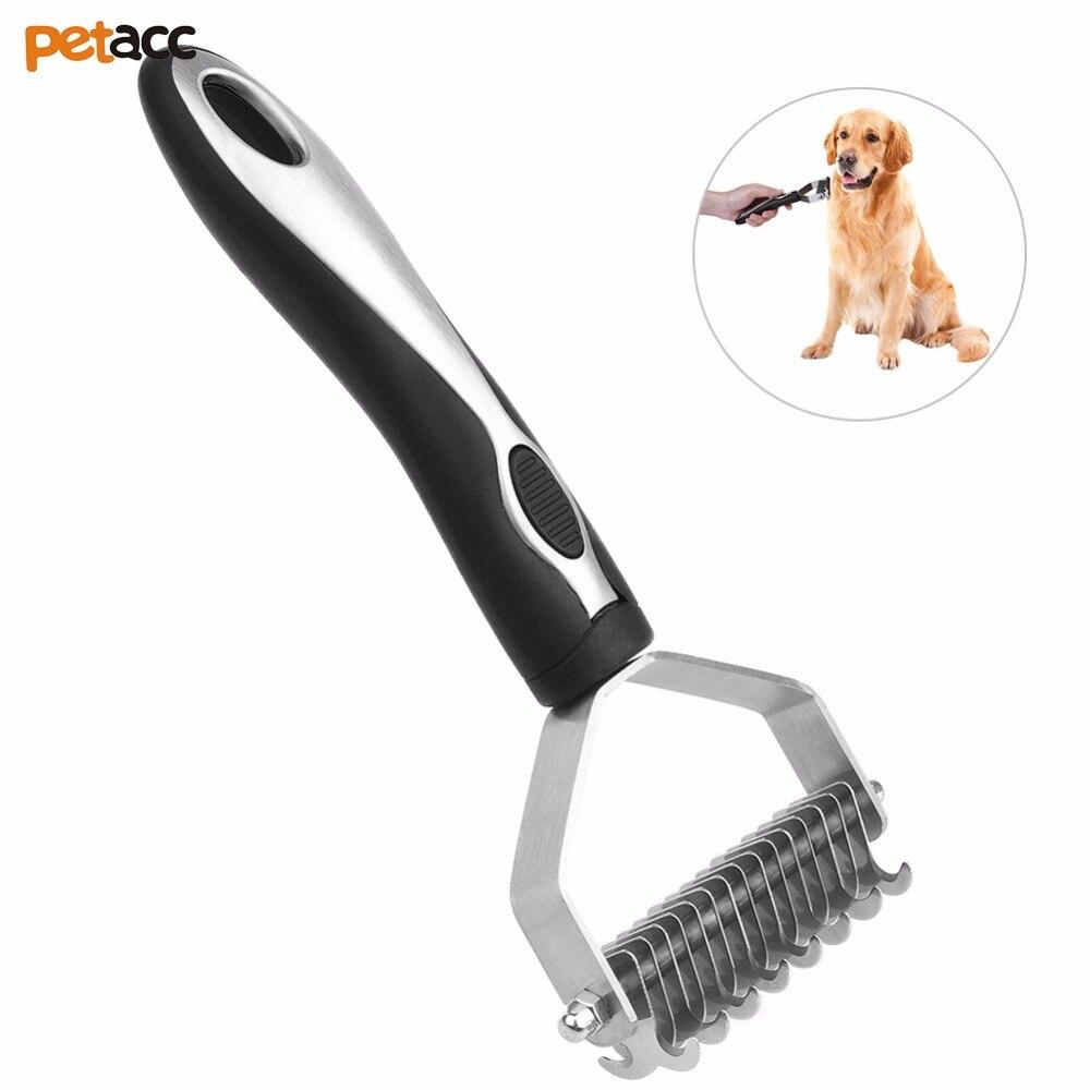 Petacc mascotas cepillo multifuncional mascota Dematting peine rastrillo de acero cepillo con redondo dientes y Anti mango antideslizante