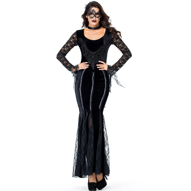 Black Velvet Ghost Queen Witch Dress Costumes Suit For Woman Girl Halloween Ball Party Cosplay