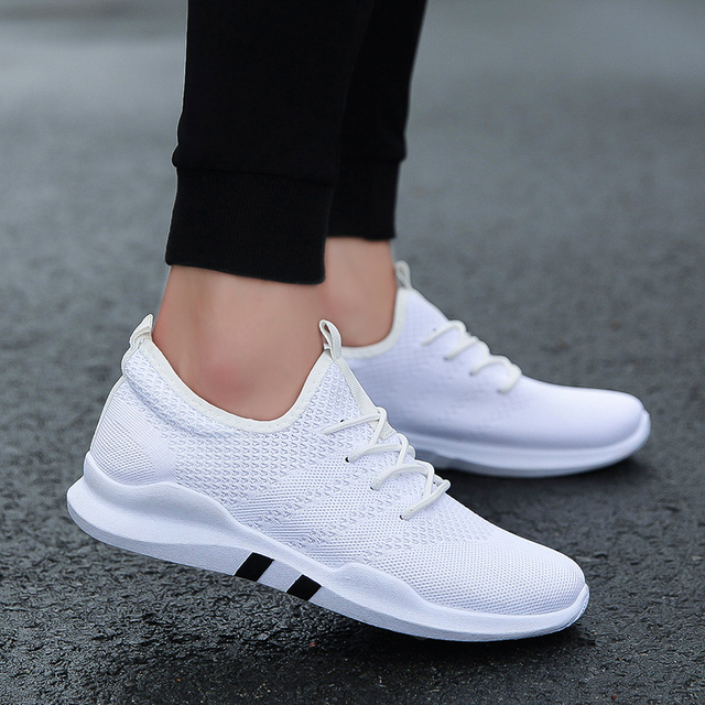 2018 Knit Running Shoes Men Free Outdoor Sport Shoes For Man White Athletic Laces Light Running Shoes For Male Fintness  3