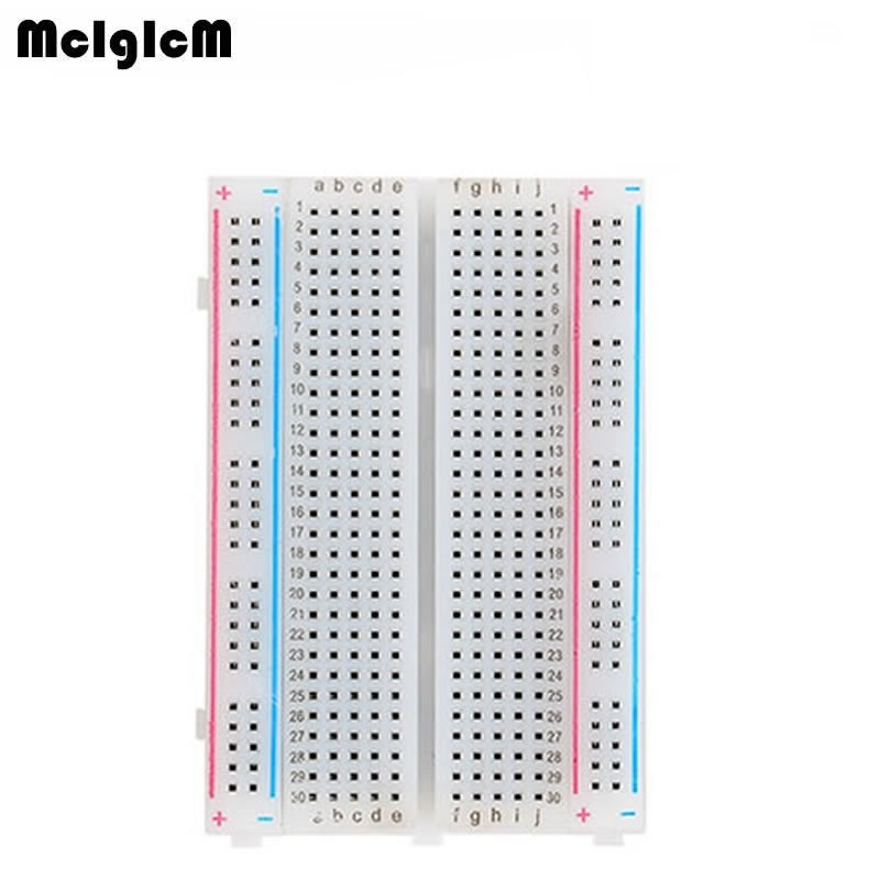 MCIGICM Breadboard 400 Points Solderless Proto Board 400 Comtacts Transparent Protoboard