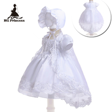 Free Shipping  3M-12M Cotton Lining Baby Baptism Dresses Embroidery White Infant Dress Communion Organza Girls Christening Gowns недорого